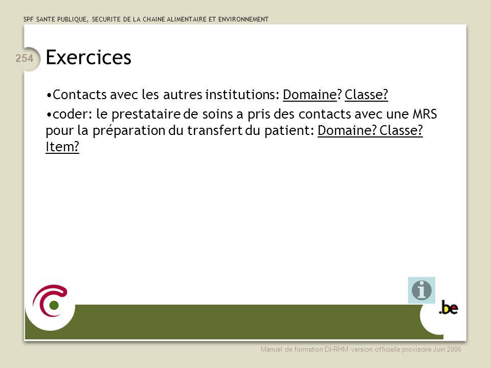 Exercices Contacts avec les autres institutions: Domaine Classe