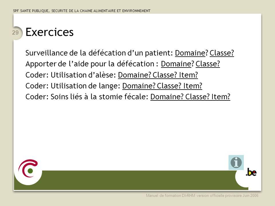 Exercices Surveillance de la défécation d'un patient: Domaine Classe