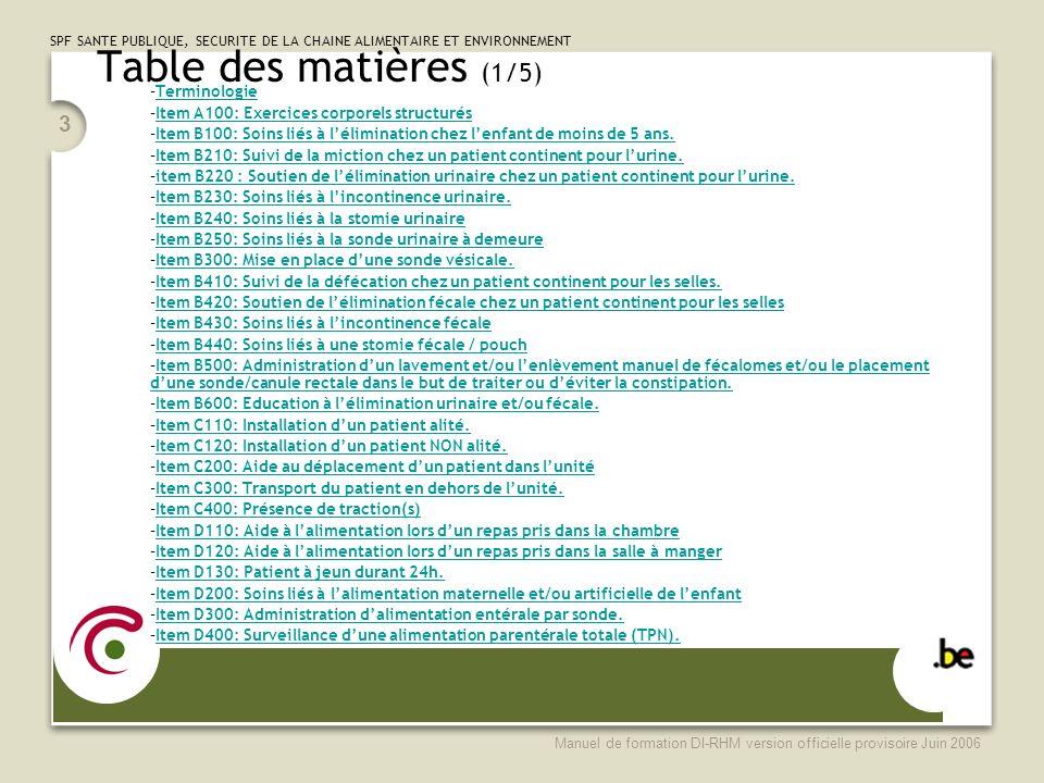 Table des matières (1/5) Terminologie