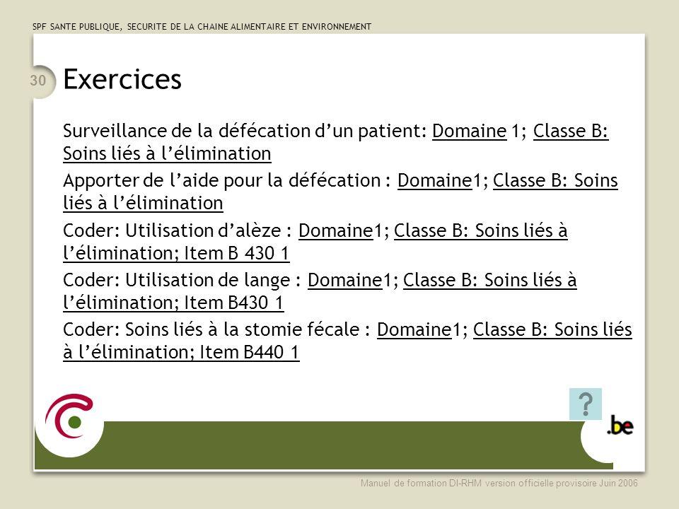 Exercices Surveillance de la défécation d'un patient: Domaine 1; Classe B: Soins liés à l'élimination.