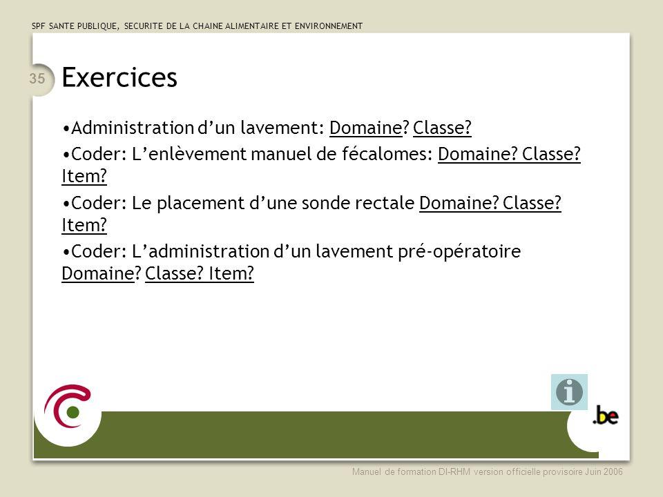 Exercices Administration d'un lavement: Domaine Classe