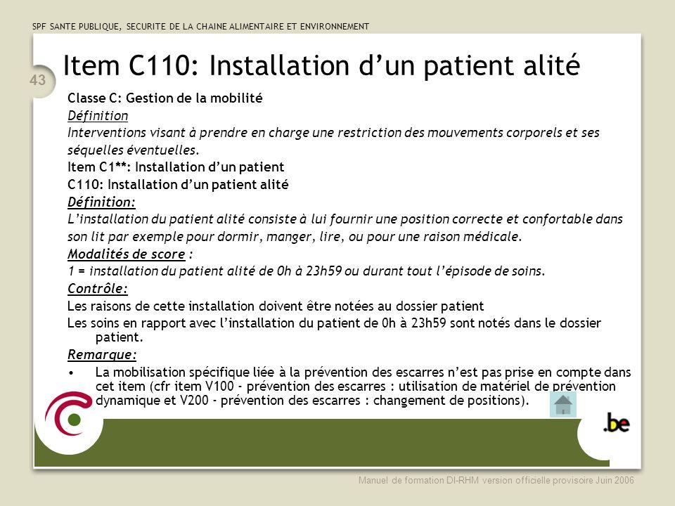 Item C110: Installation d'un patient alité