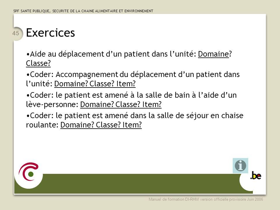 Exercices Aide au déplacement d'un patient dans l'unité: Domaine Classe