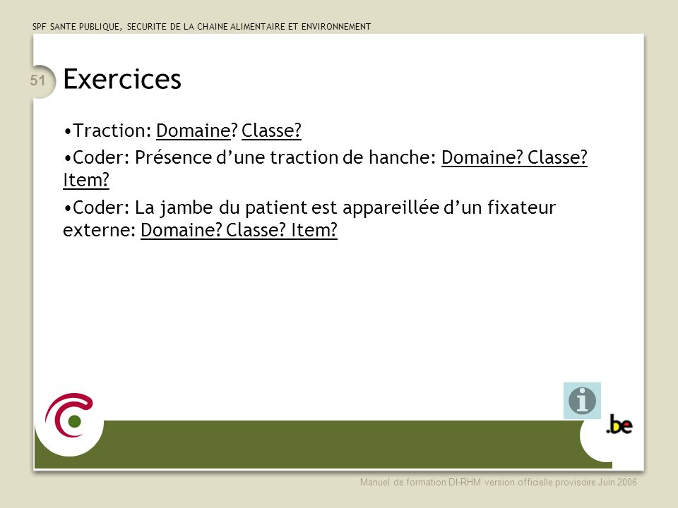Exercices Traction: Domaine Classe