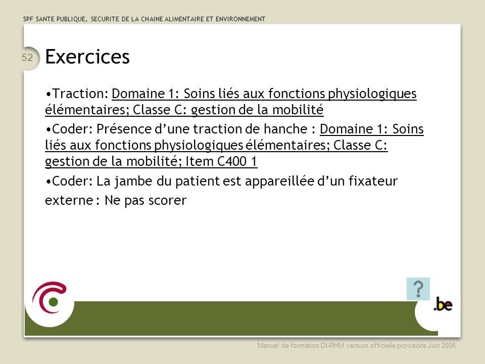 Exercices Traction: Domaine 1: Soins liés aux fonctions physiologiques élémentaires; Classe C: gestion de la mobilité.