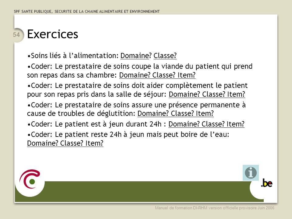 Exercices Soins liés à l'alimentation: Domaine Classe