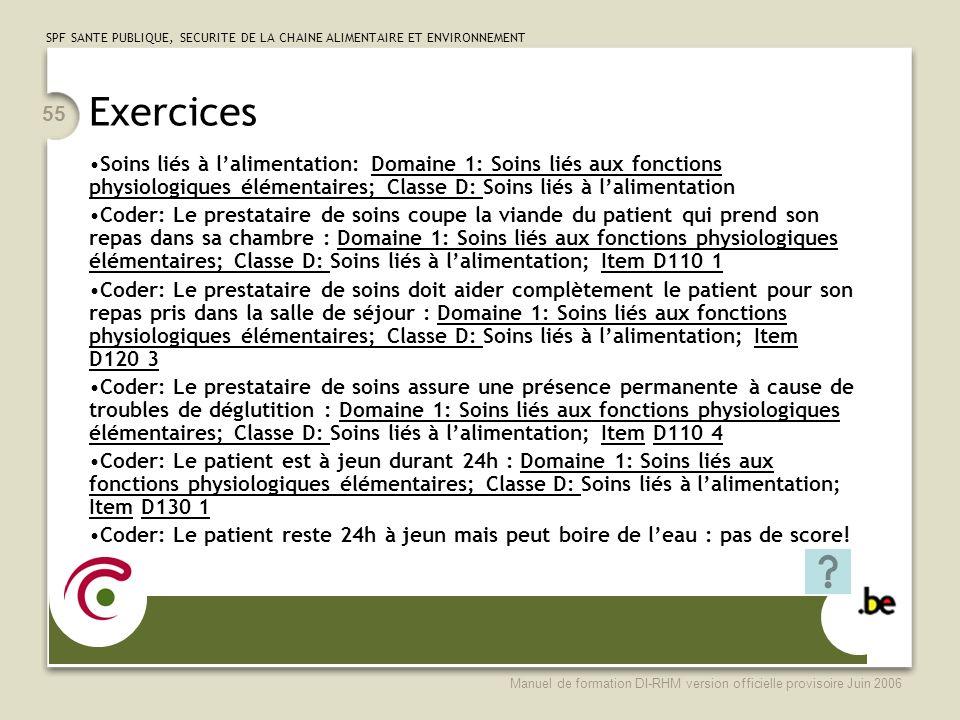 Exercices Soins liés à l'alimentation: Domaine 1: Soins liés aux fonctions physiologiques élémentaires; Classe D: Soins liés à l'alimentation.
