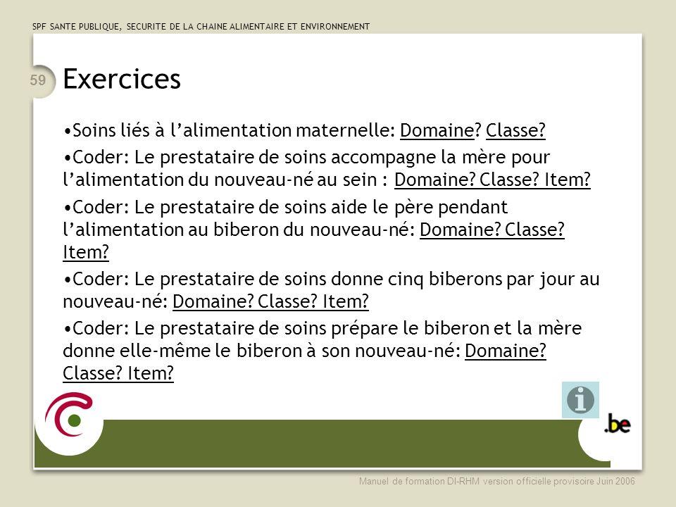 Exercices Soins liés à l'alimentation maternelle: Domaine Classe