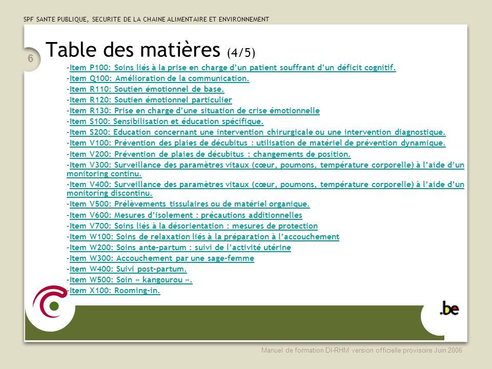 Table des matières (4/5) Item P100: Soins liés à la prise en charge d'un patient souffrant d'un déficit cognitif.