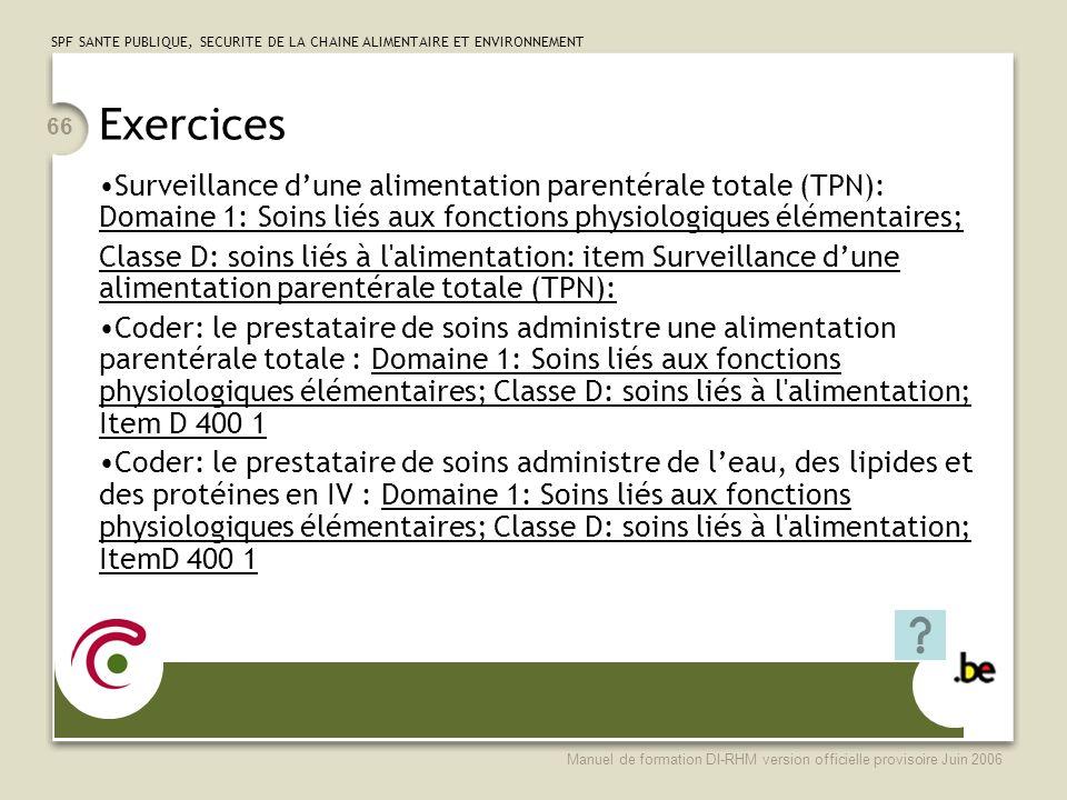Exercices Surveillance d'une alimentation parentérale totale (TPN): Domaine 1: Soins liés aux fonctions physiologiques élémentaires;