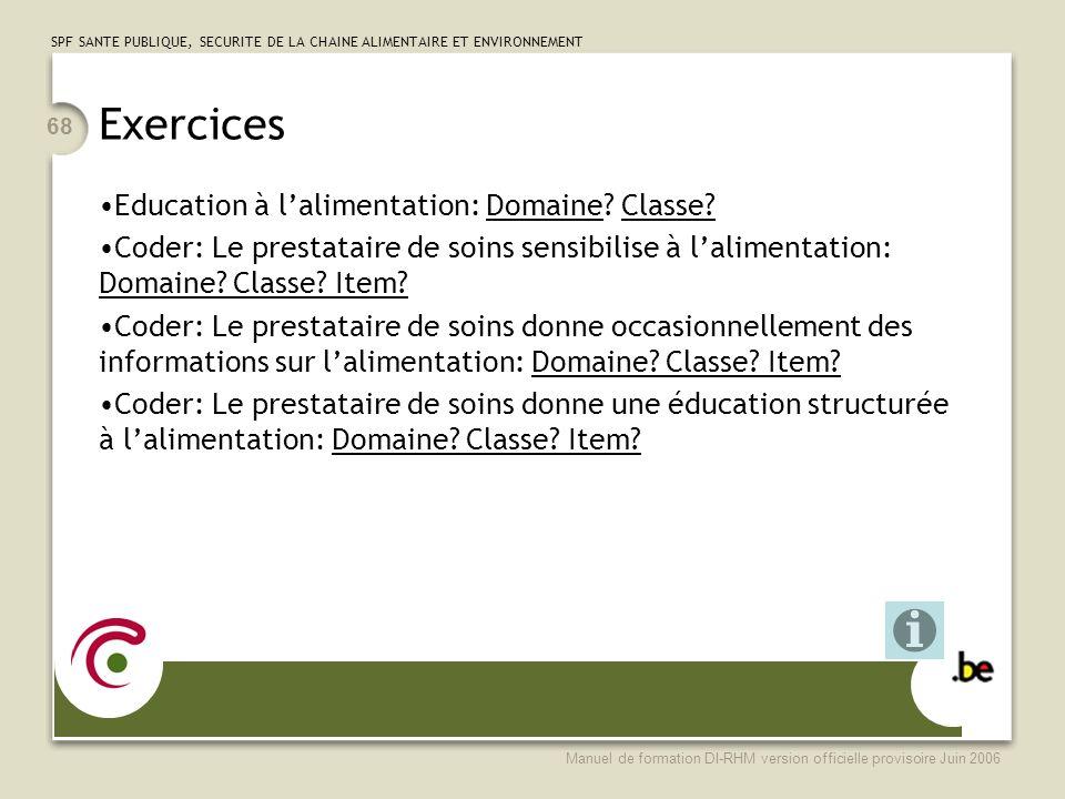 Exercices Education à l'alimentation: Domaine Classe