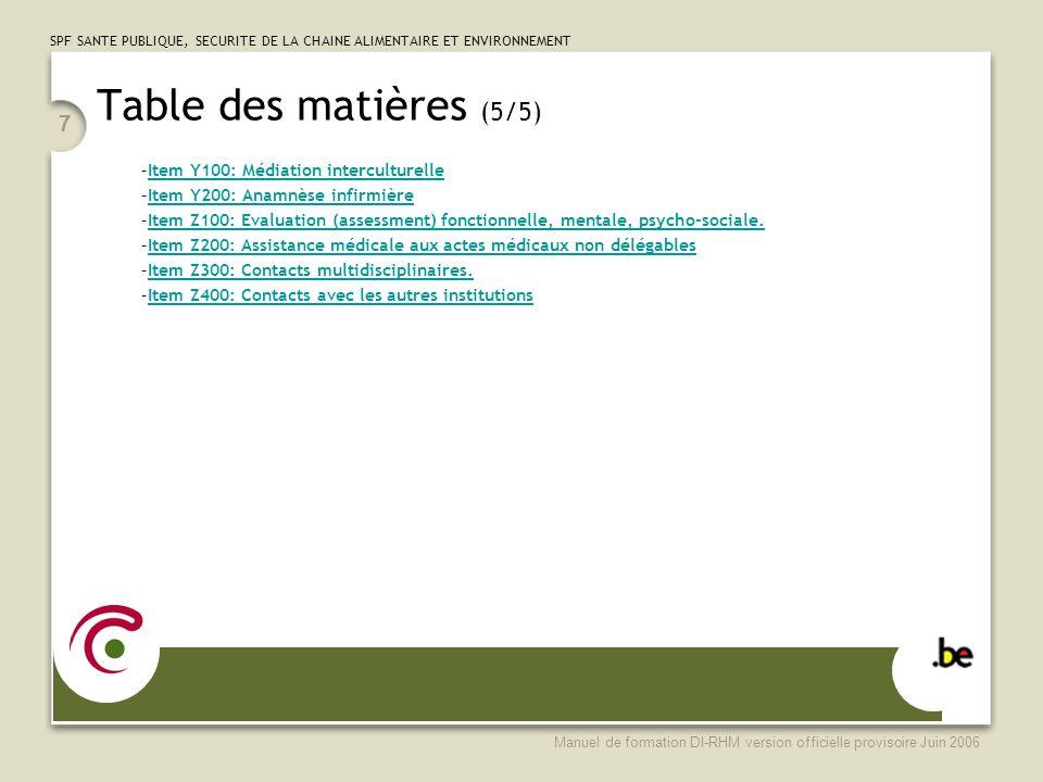 Table des matières (5/5) Item Y100: Médiation interculturelle