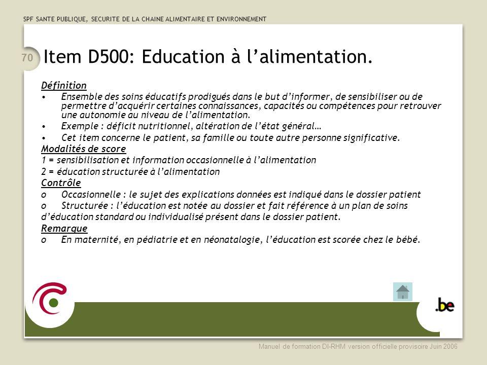 Item D500: Education à l'alimentation.