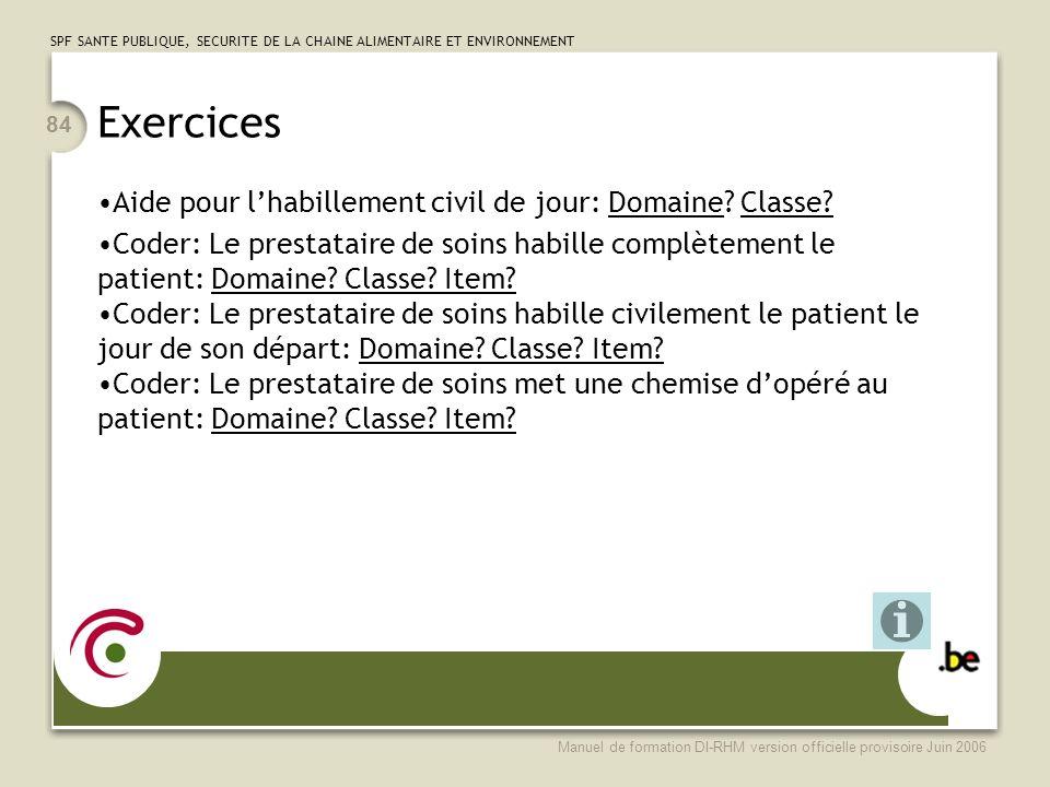 Exercices Aide pour l'habillement civil de jour: Domaine Classe