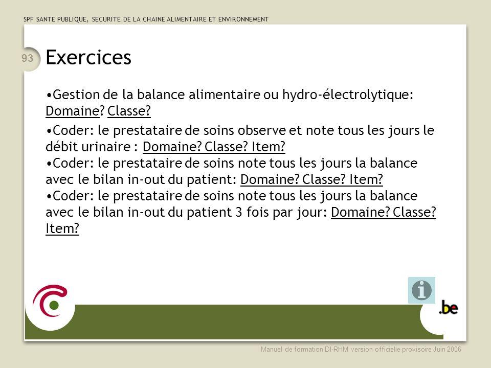 Exercices Gestion de la balance alimentaire ou hydro-électrolytique: Domaine Classe