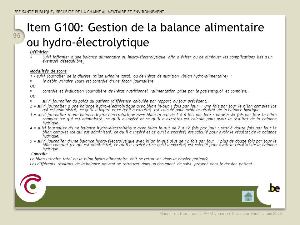 Item G100: Gestion de la balance alimentaire ou hydro-électrolytique