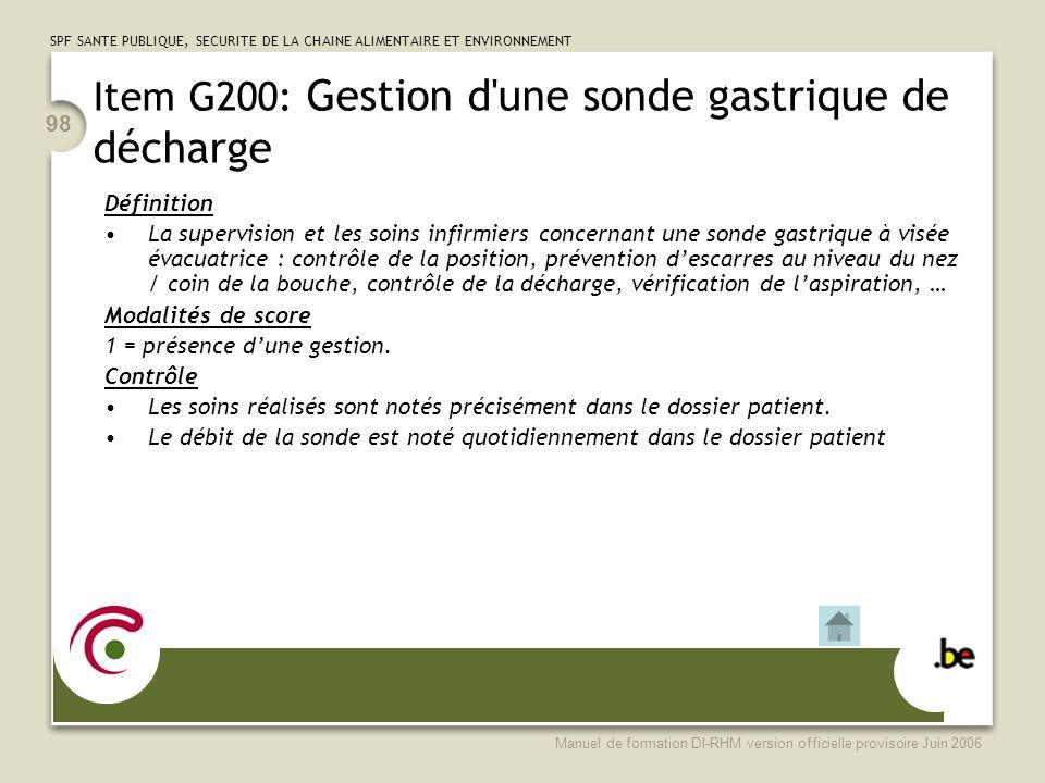 Item G200: Gestion d une sonde gastrique de décharge