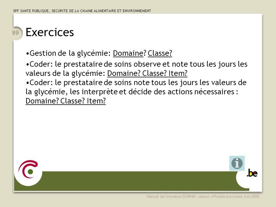 Exercices Gestion de la glycémie: Domaine Classe