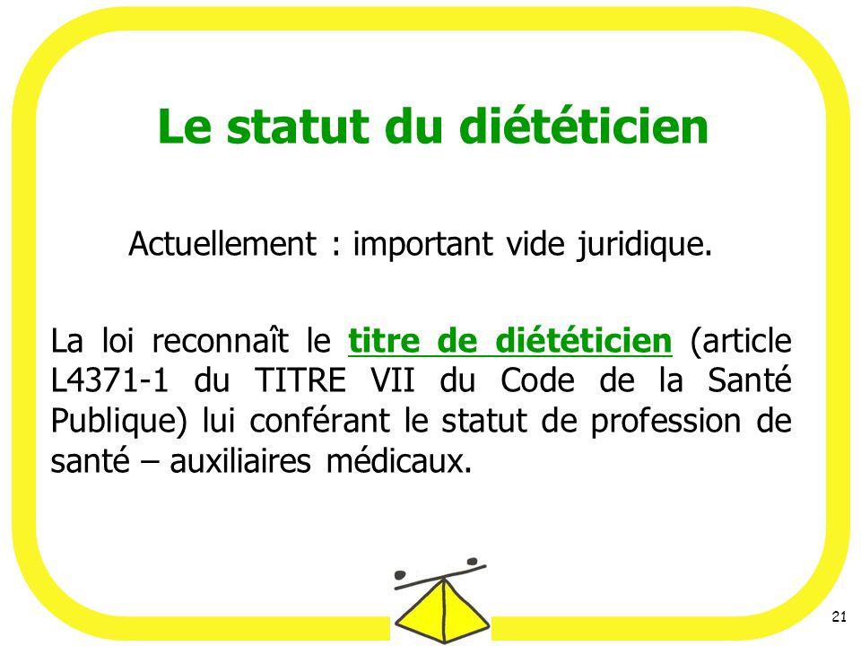 Le statut du diététicien