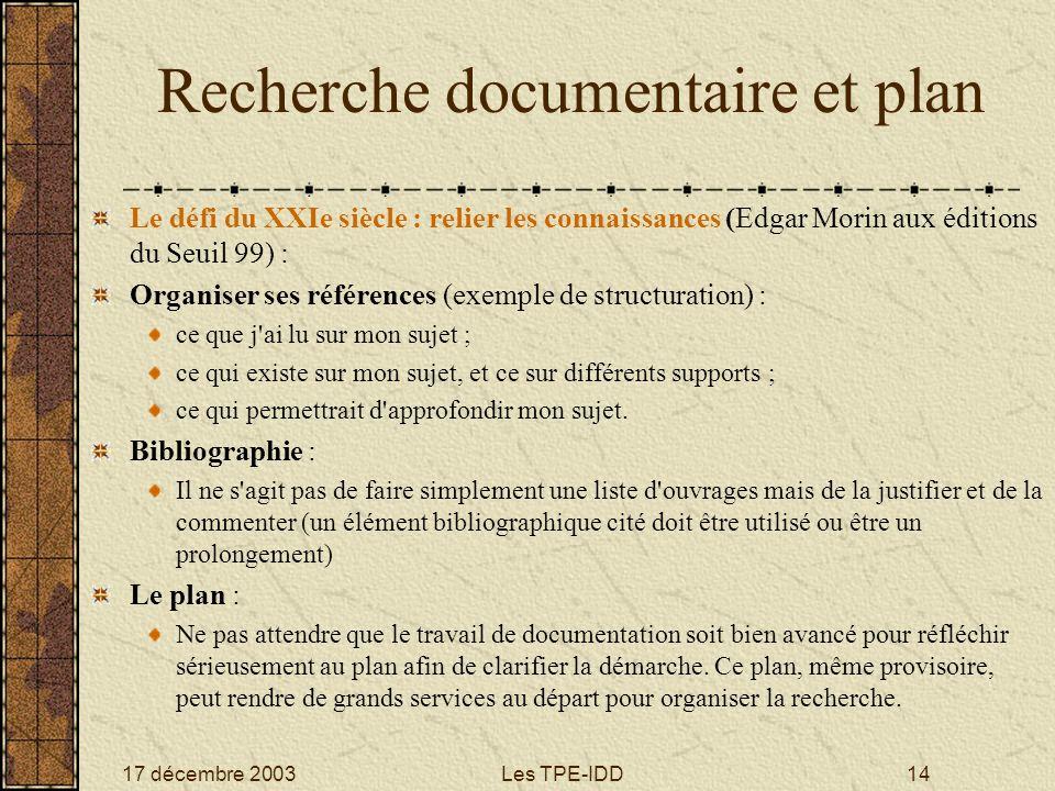 Recherche documentaire et plan
