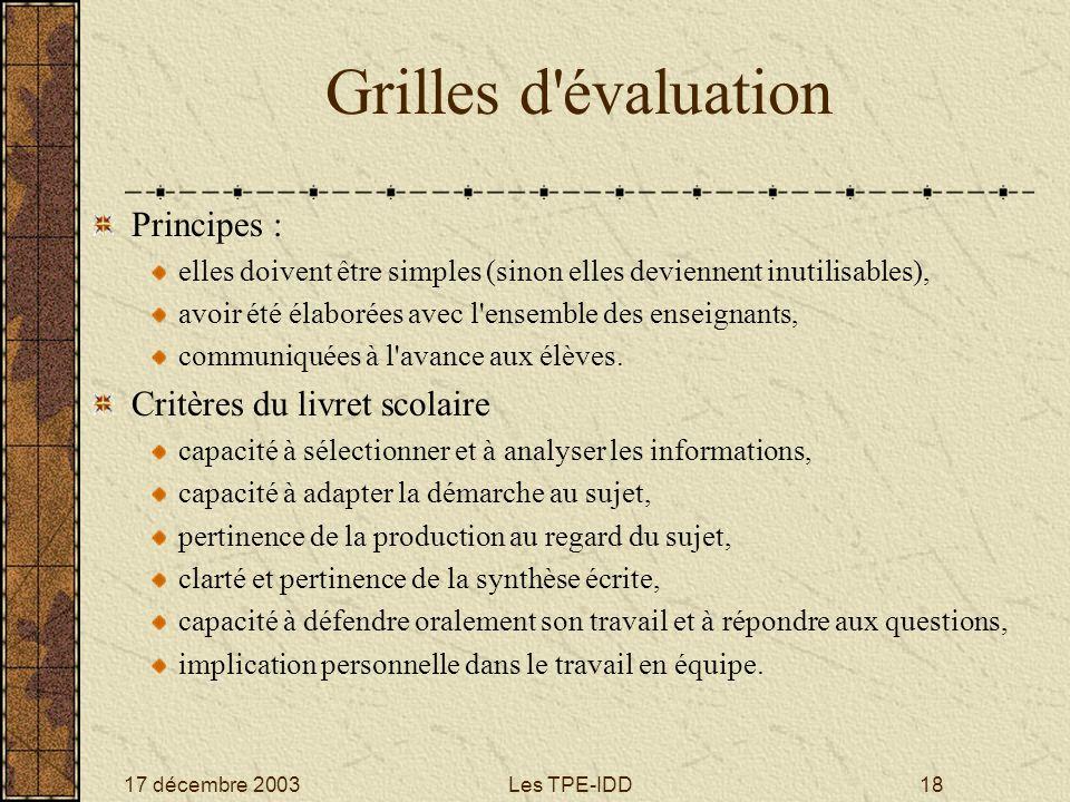Grilles d évaluation Principes : Critères du livret scolaire