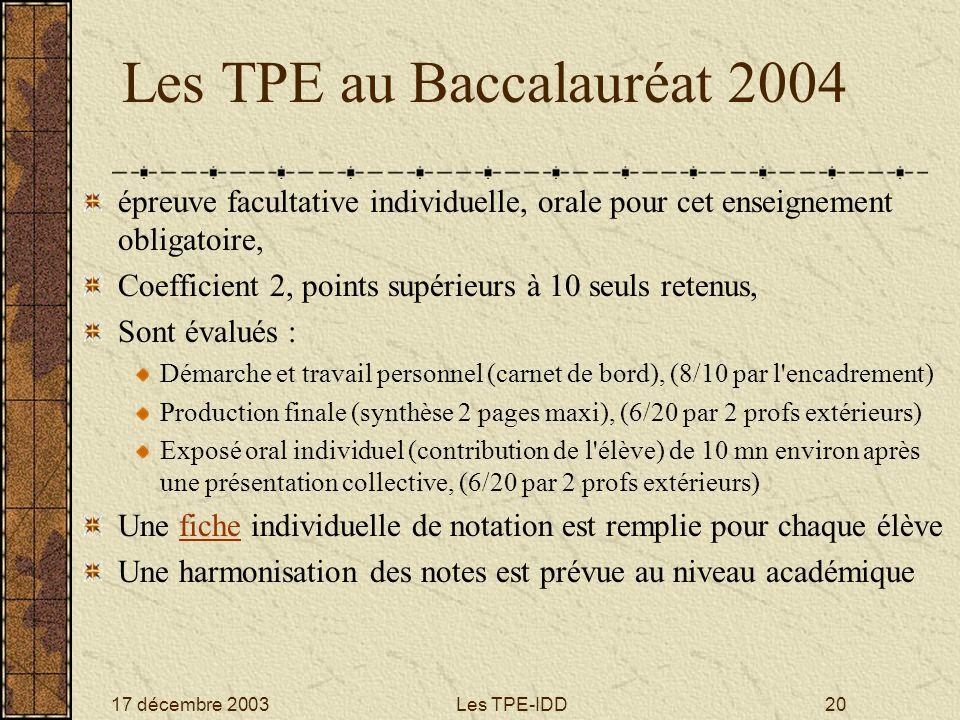 Les TPE au Baccalauréat 2004