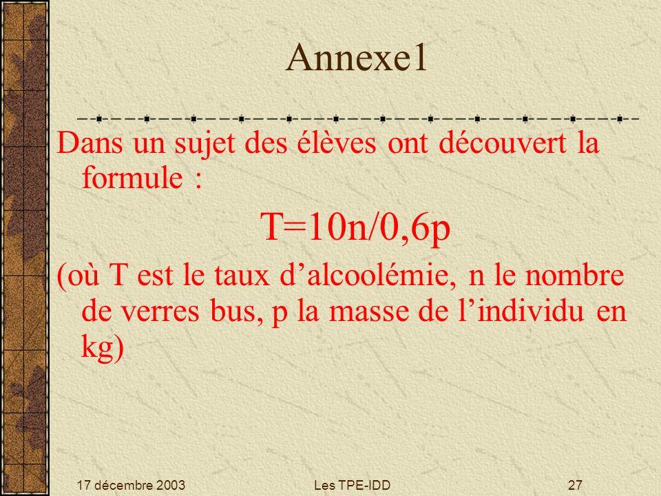 Annexe1 T=10n/0,6p Dans un sujet des élèves ont découvert la formule :