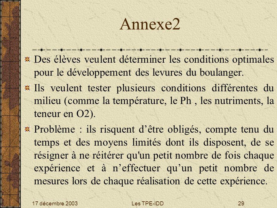 Annexe2 Des élèves veulent déterminer les conditions optimales pour le développement des levures du boulanger.