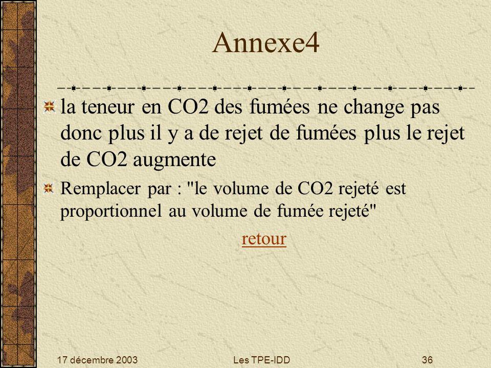 Annexe4 la teneur en CO2 des fumées ne change pas donc plus il y a de rejet de fumées plus le rejet de CO2 augmente.