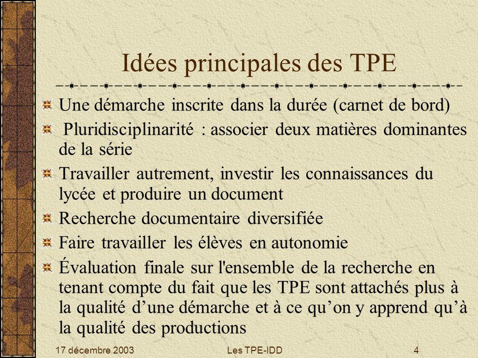 Idées principales des TPE