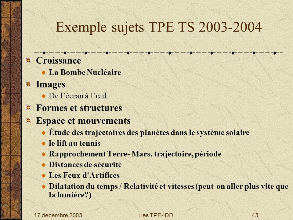 Exemple sujets TPE TS 2003-2004 Croissance Images Formes et structures