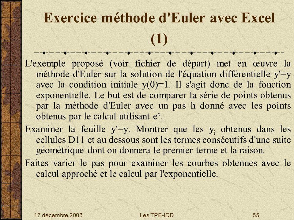 Exercice méthode d Euler avec Excel (1)