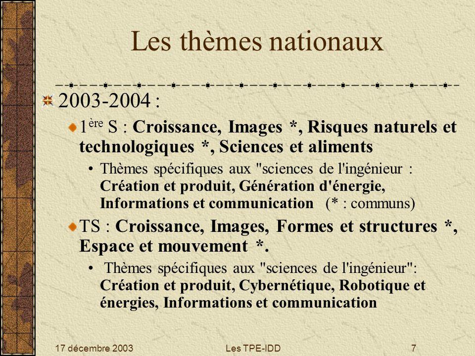 Les thèmes nationaux 2003-2004 :