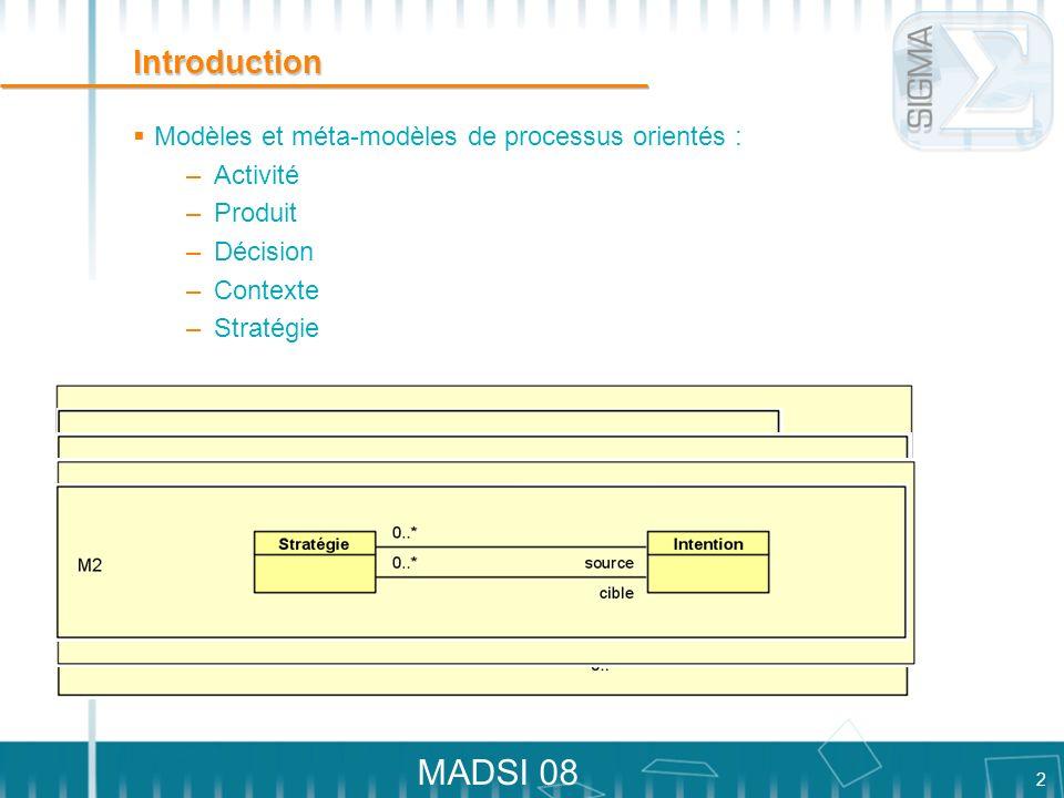 Introduction Modèles et méta-modèles de processus orientés : Activité