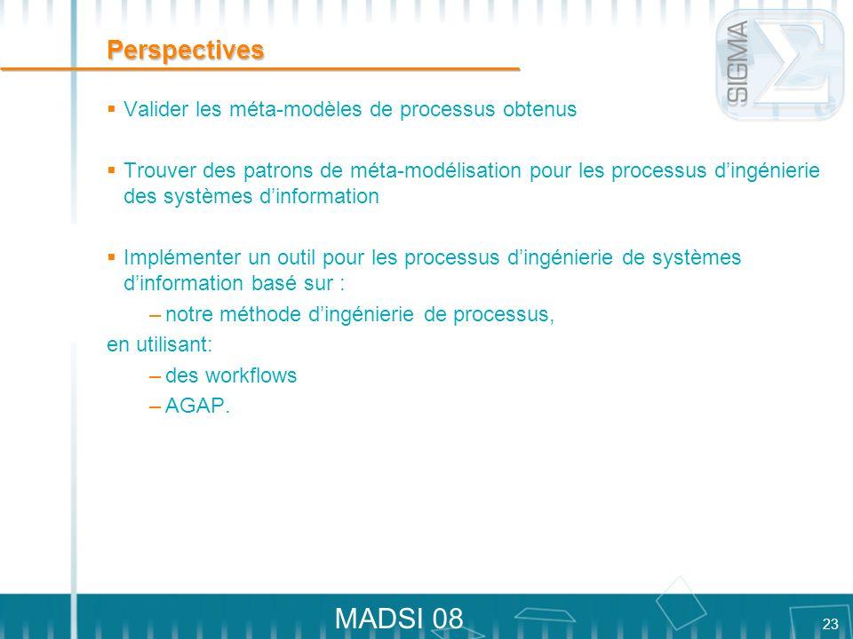 Perspectives Valider les méta-modèles de processus obtenus