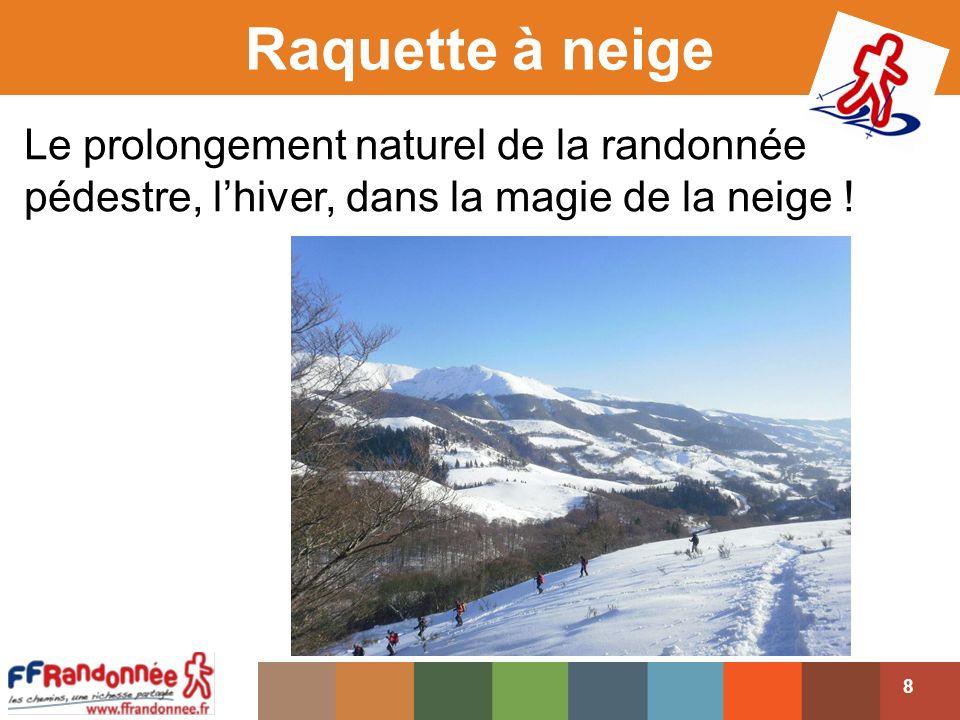 Raquette à neige Le prolongement naturel de la randonnée pédestre, l'hiver, dans la magie de la neige !