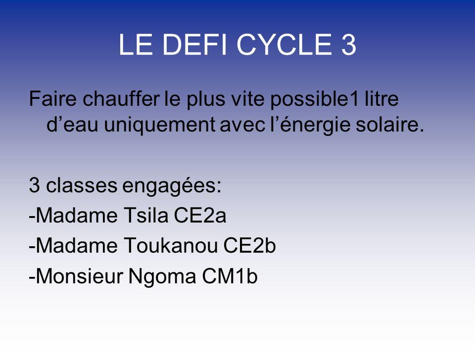 LE DEFI CYCLE 3 Faire chauffer le plus vite possible1 litre d'eau uniquement avec l'énergie solaire.