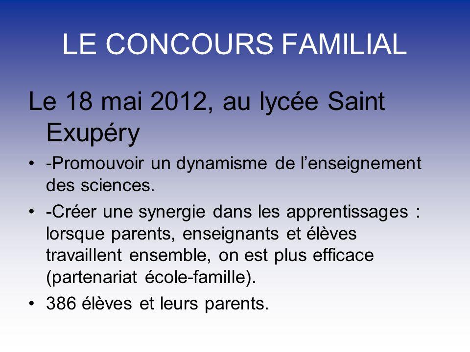 LE CONCOURS FAMILIAL Le 18 mai 2012, au lycée Saint Exupéry