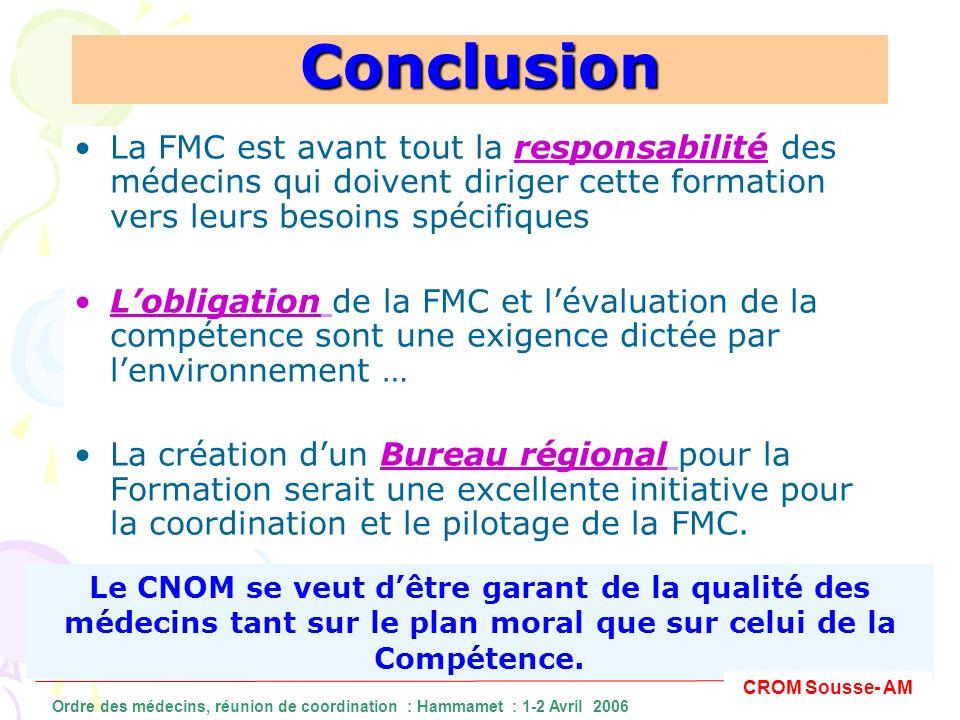 Conclusion La FMC est avant tout la responsabilité des médecins qui doivent diriger cette formation vers leurs besoins spécifiques.