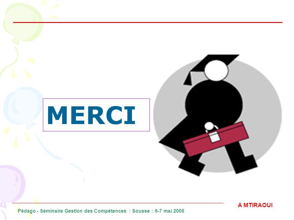 MERCI A MTIRAOUI Pédago - Séminaire Gestion des Compétences : Sousse : 6-7 mai 2005