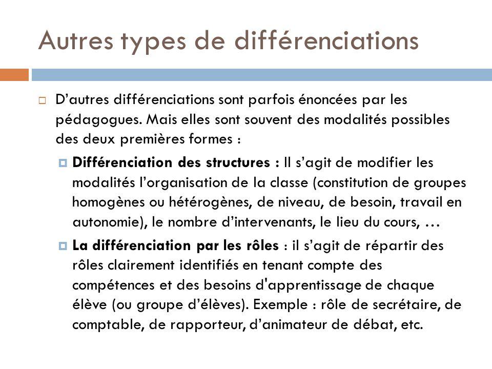 Autres types de différenciations
