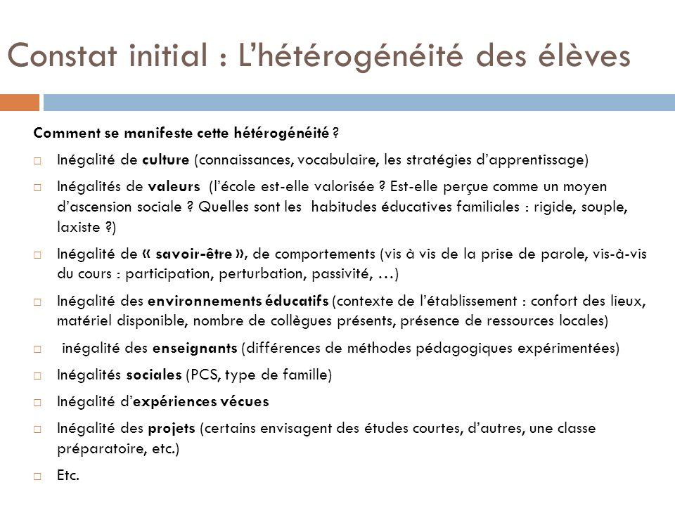 Constat initial : L'hétérogénéité des élèves