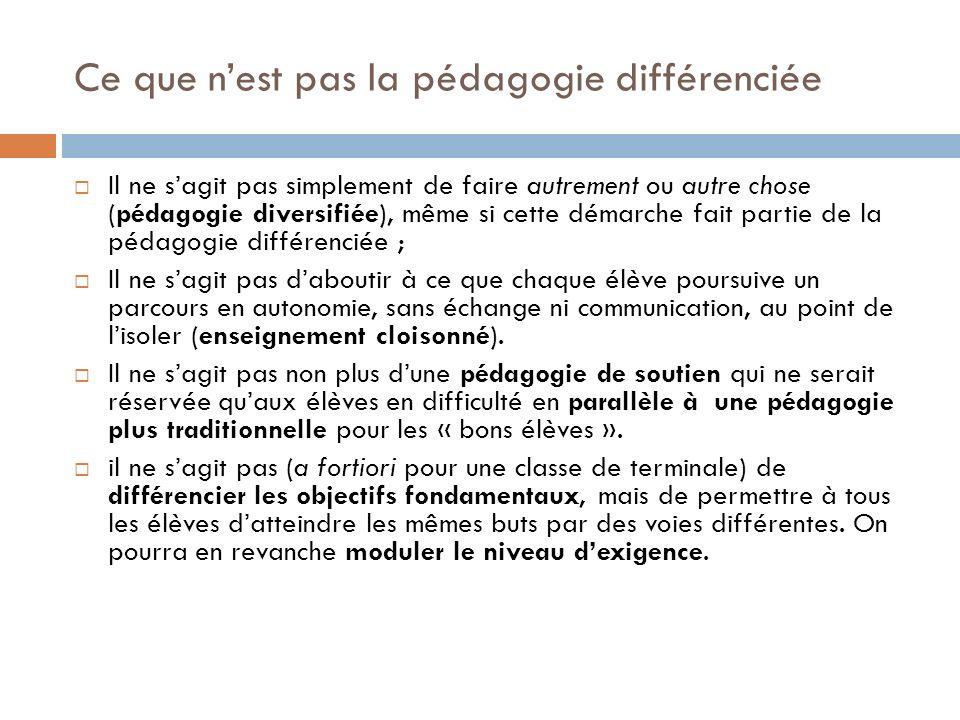 Ce que n'est pas la pédagogie différenciée