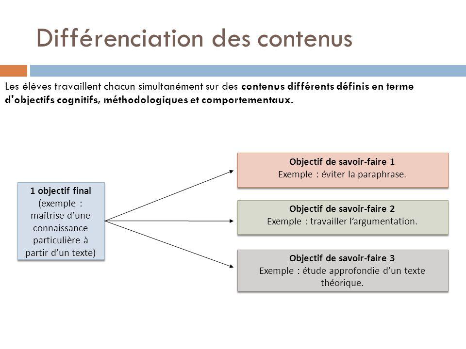 Différenciation des contenus