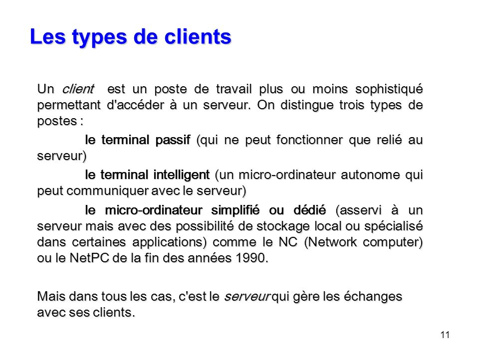 Les types de clients