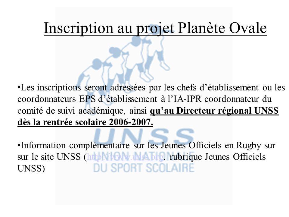 Inscription au projet Planète Ovale