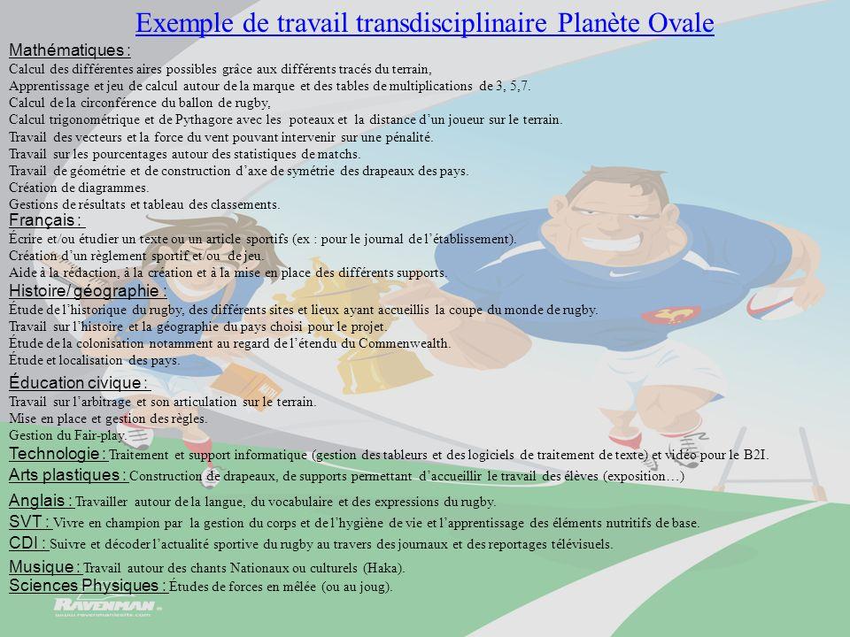 Exemple de travail transdisciplinaire Planète Ovale