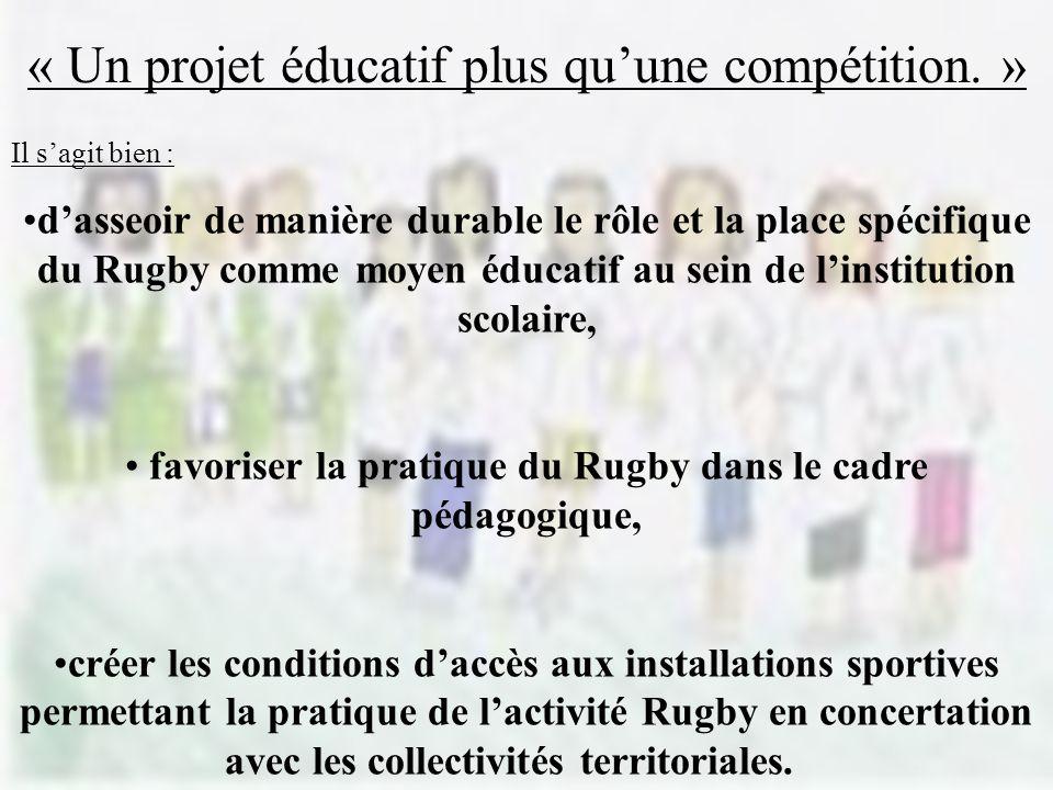 favoriser la pratique du Rugby dans le cadre pédagogique,