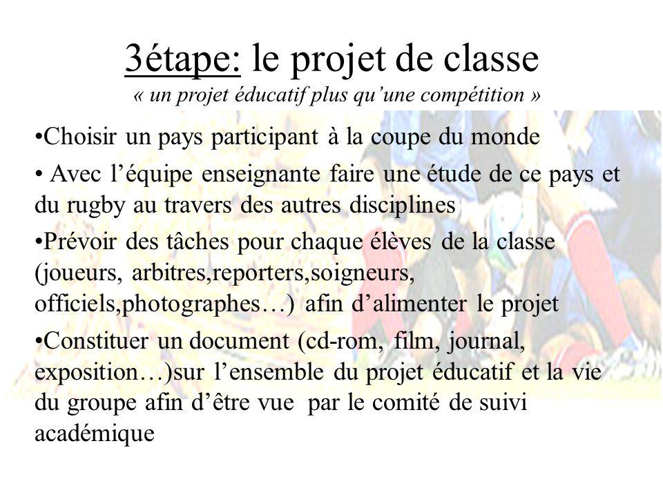 3étape: le projet de classe « un projet éducatif plus qu'une compétition »
