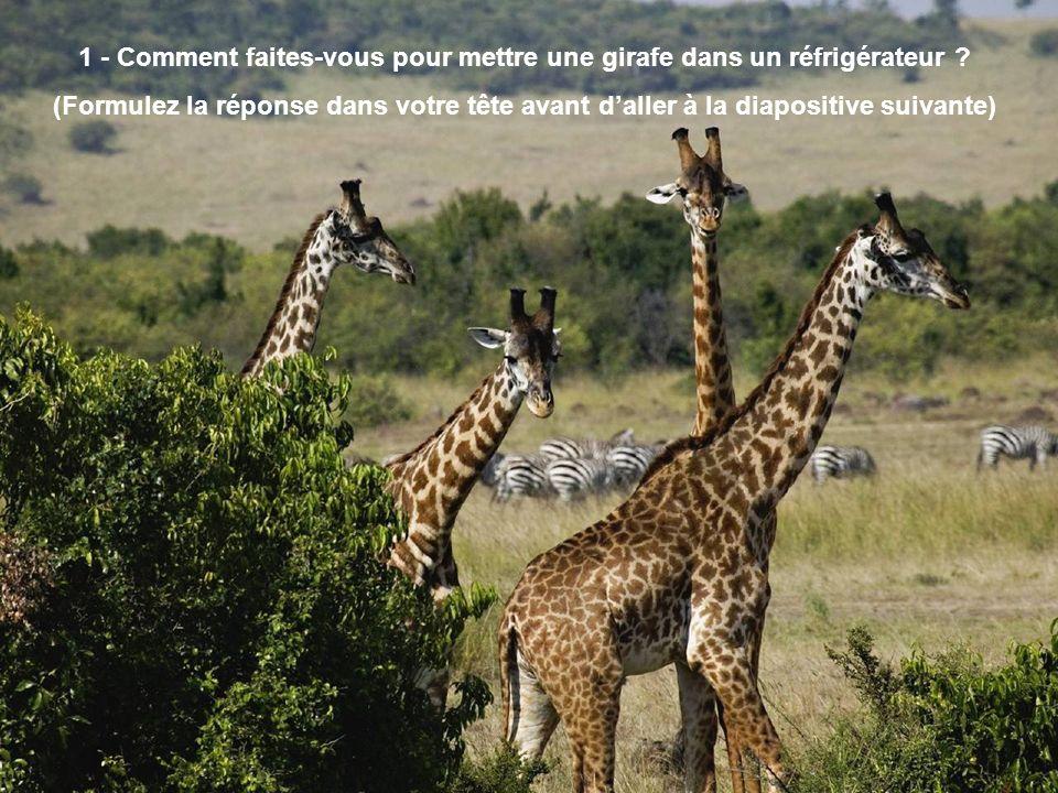 1 - Comment faites-vous pour mettre une girafe dans un réfrigérateur